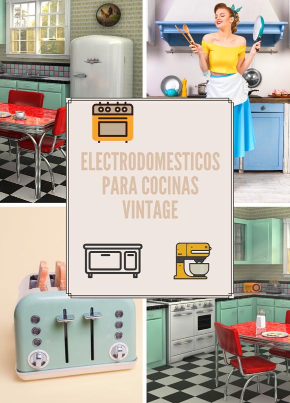 Collage de cocina vintage con electrodomésticos retro