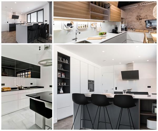 Cocinas blancas y negras mixtas.